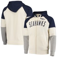 Seattle Seahawks Hands High Point Check French Terry Raglan Full-Zip Hoodie - White/College Navy