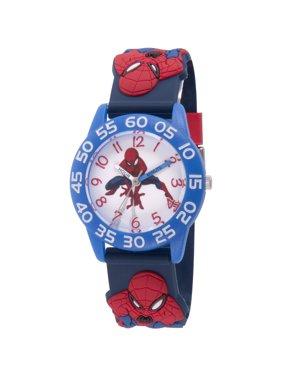 Spider-Man Boys' Blue Plastic Time Teacher Watch, Spider-Man 3D Strap