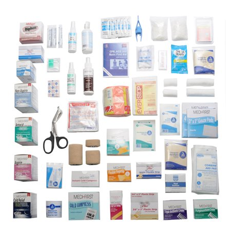 First Aid Kit Refill Pack Complete With Medications Fills 4 Shelf Workplace Metal
