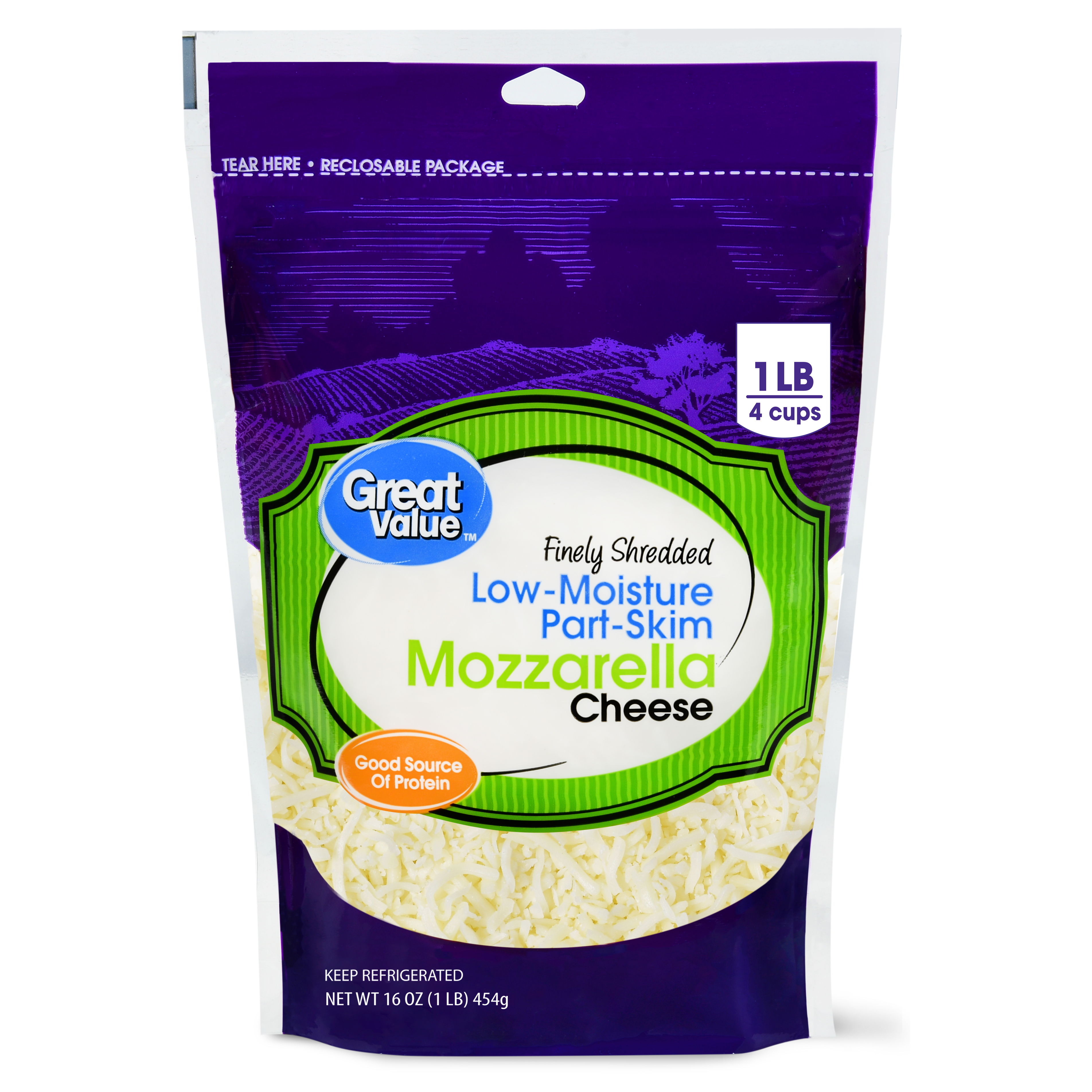 Great Value Finely Shredded Mozzarella Cheese, Low-Moisture Part-Skim, 16 oz