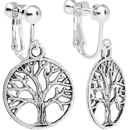 Body Candy Tree of Life Clip On Dangle Earrings