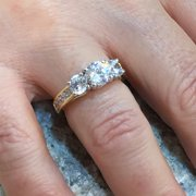 7c8c42e0a NANA - 14k CZ 3 Stone Ring (Euro) w/ Side Stones Yellow Gold Size 9 ...