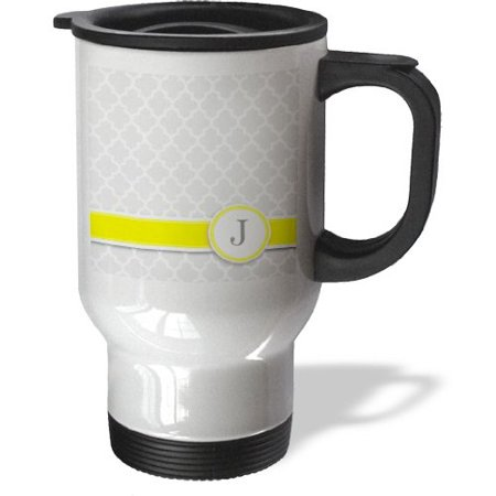 3dRose Your personal name initial letter J - monogrammed grey quatrefoil pattern - personalized yellow gray, Travel Mug, 14oz, Stainless Steel - Personalized Photo Travel Mugs