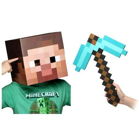 Minecraft Steve Head & Diamond Pickaxe Costume Set](Minecraft Cardboard Head)