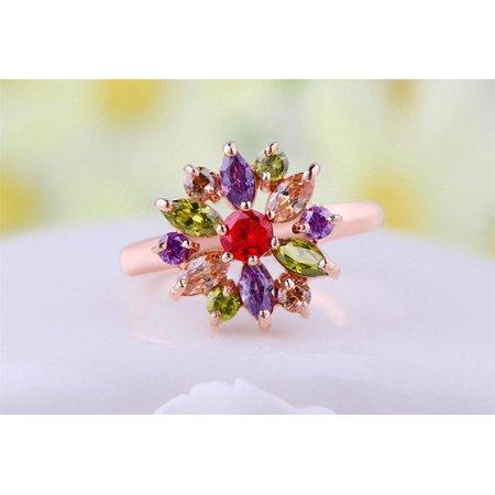 - 18K Rose Gold Multi Color Swarovski Crystal Flower Ring