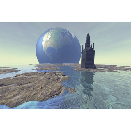 Terraforming The Moon With Water And Buildings Poster Print