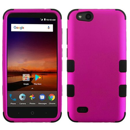 For ZTE ZFive G LTE / ZFive C / Avid 4 / Fanfare 3 / Blade Vantage / Tempo X / Tempo Go Case Dual Layer Tuff Armor Hybrid Hard Phone Cover (Hot Pink/Black)