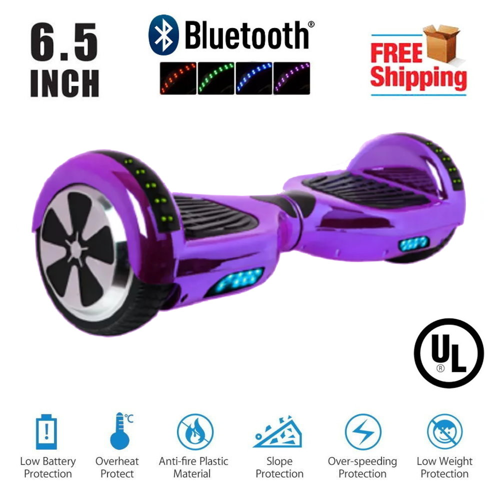 """Hoverboard 6.5""""  LED Bluetooth Speaker  Self Balancing Wheel Electric Scooter-Chrome Purple"""