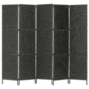 "OTVIAP 5-Panel Room Divider Black 76""x63"" Water Hyacinth"
