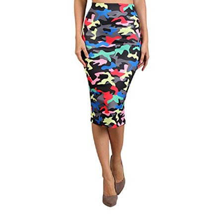 2Chique Boutique Women's High Waisted Camouflage Print Pencil Skirt (large)