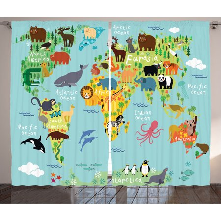 Wander Decor Curtains 2 Panels Set Animal Map Of The World For Children And Kids