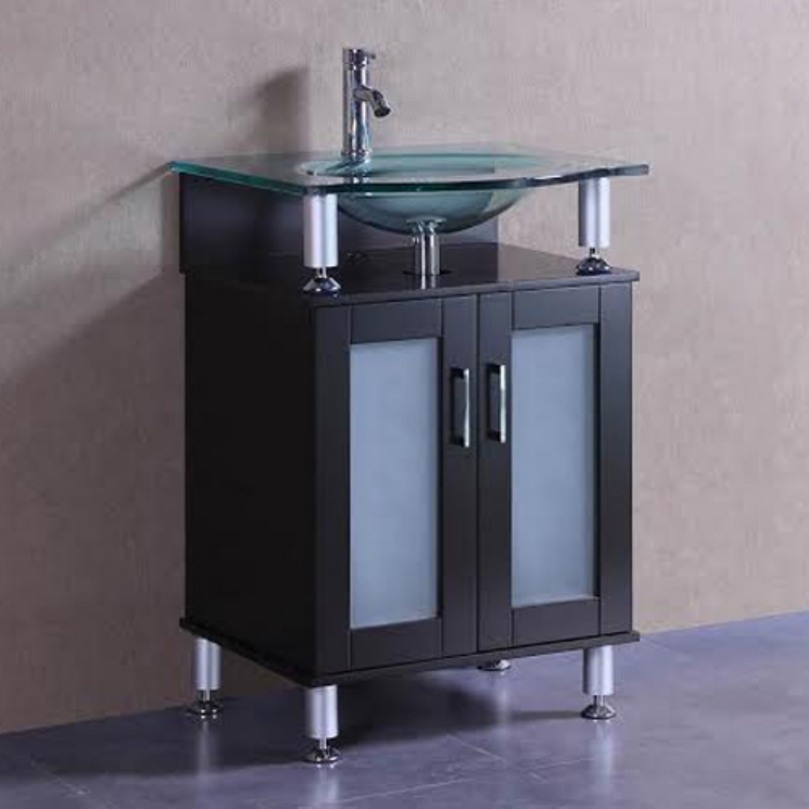 Belvedere 24 in. Modern Single Bathroom Vanity with Glass...
