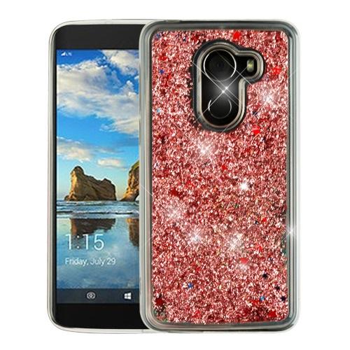 For T-Mobile REVVL / Alcatel A30 Fierce / Alcatel A30 Plus / Alcatel Walters Case Hybrid Quicksand Liquid Glitter TPU Phone Cover (Stars & Rose Gold Quicksand Glitter )