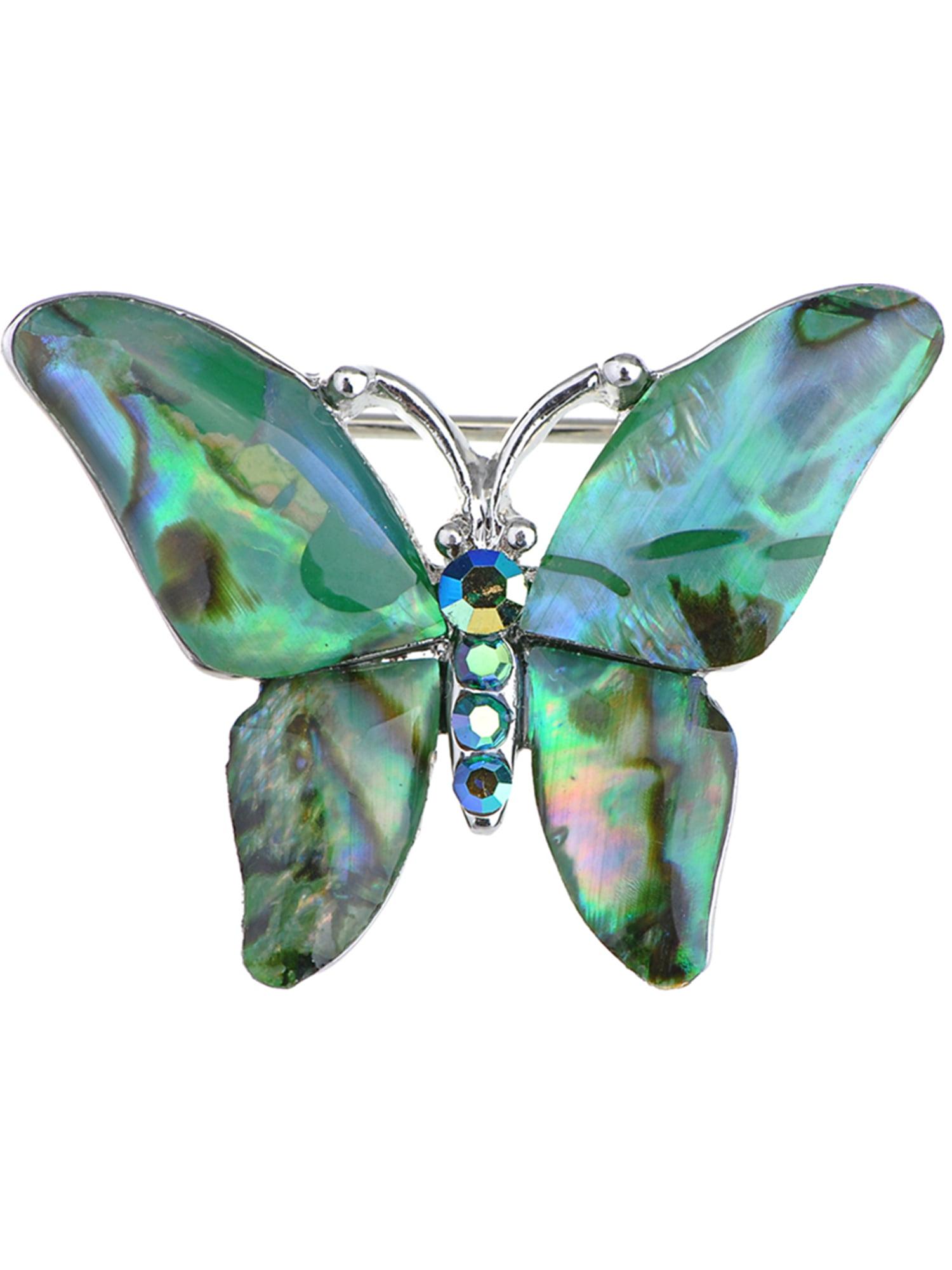 Blue Stylish Rhinestone Enamel Painted Butterfly Brooch Buty Pin Pendant Jewelry