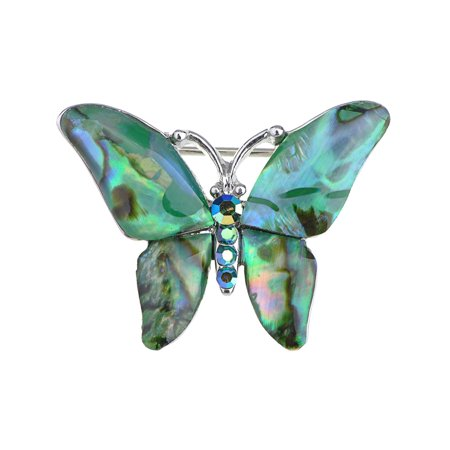 Silver Tone Abalone Colored Stones Green Blue Butterfly Brooch Pin Butterfly Ruby Brooch