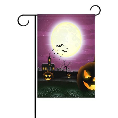 POPCreation Pumpkin Castle Bat Full Moon Halloween Garden Flag Outdoor Flag Home Party 28x40 inches](Bts Halloween Party Full)