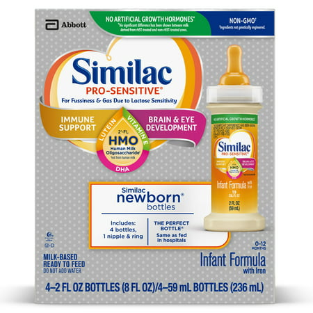 Similac Pro-Sensitive Non-GMO with 2'-FL HMO for Immune Support, Baby Formula 2 fl oz (Pack of