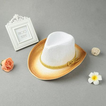 Fashion Women Sun Hat Contrast Color Wide Brim Belt Summer Sunbonnet Beach Panama Fedora Hat White (Sun Valley Belts)