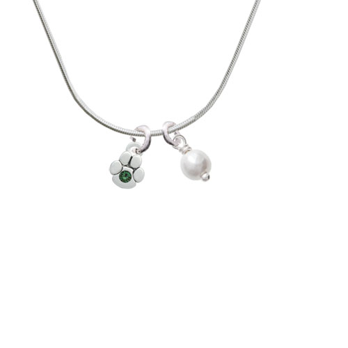 Mini Paw with Green Crystal - Imitation Pearl Bicone Crystal Necklace