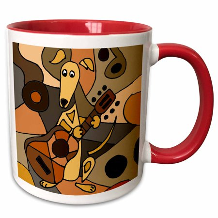 3dRose Funny Greyhound Dog Playing Guitar Abstract Art - Two Tone Red Mug, - Two Funny Dogs