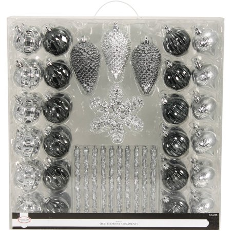 (Holiday Time Silver/Metallic Shatterproof Ornament Suitcase, 80 Count)