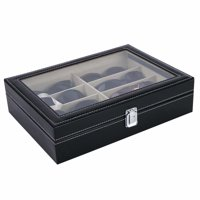 Leather Multi Sunglasses Organizer for Women Men Eyeglasses Eyewear Display Case Sunglass Glasses Storage Holder Box Sunglasses Collection Case with 8 Slots Black