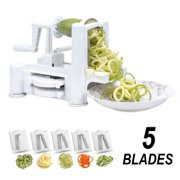 Flamen 5-Blade Spiralizer Hot sale Vegetable Slicer, Strongest Heaviest Duty Kitchen Tools Veggie Spaghetti Pasta Salad Maker for Healthy Low Carb/Paleo/Gluten-Free Meals with Cleaning Brush