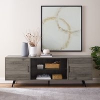 """Manor Park Mid-Century Modern 2-Door TV Stand for TV's up to 78"""" - Slate Grey"""