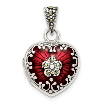 925 Sterling Silver Red Enamel Marcasite Heart Photo Pendant Charm Locket Chain Necklace That Holds Pictures Gifts For Women For (Marcasite Heart)