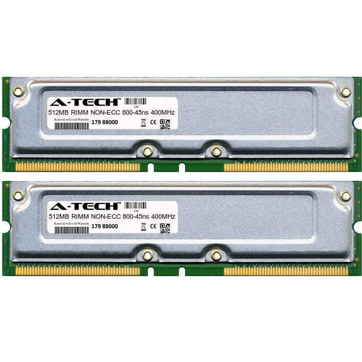 1GB Kit 2x 512MB Modules 800-45ns 400MHz NON-ECC RD RIMM Desktop 184-pin Memory Ram
