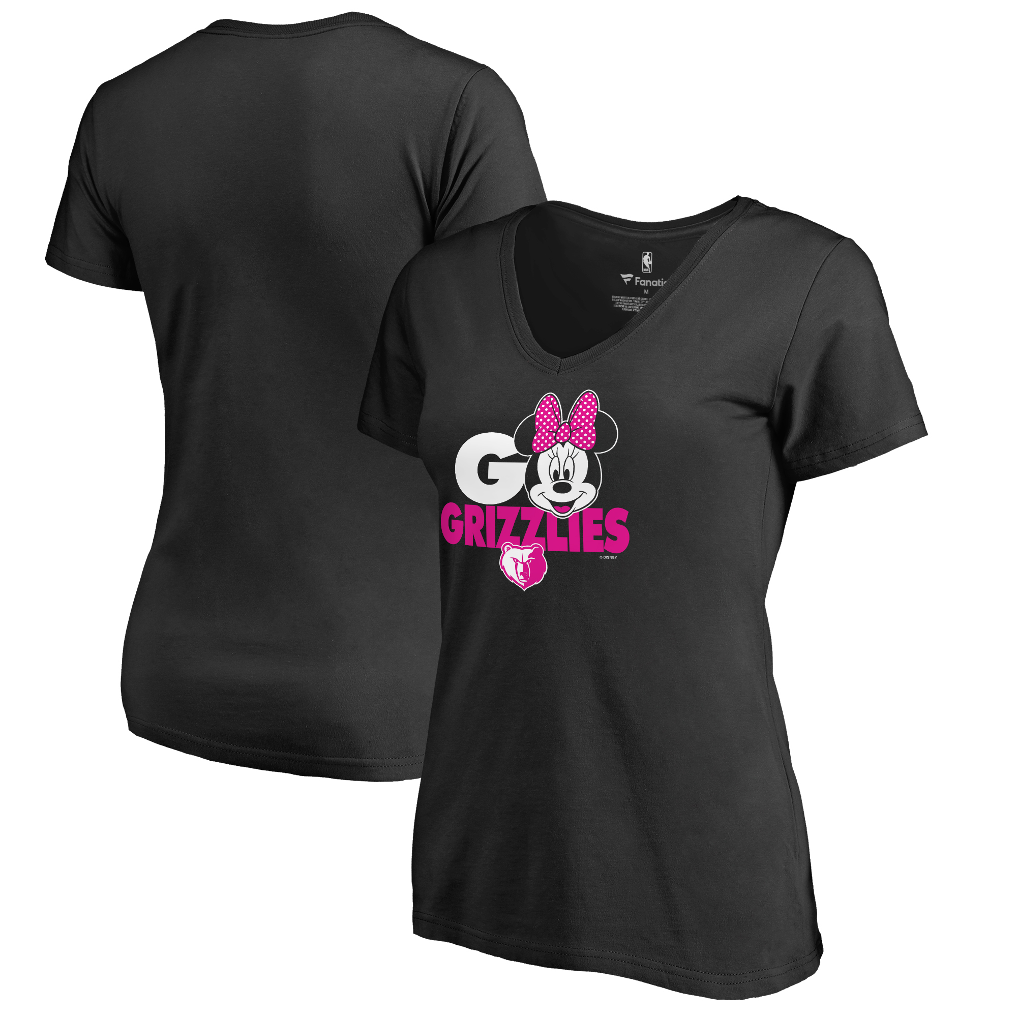 Memphis Grizzlies Fanatics Branded Women's Disney Rally Cry Minnie V-Neck T-Shirt - Black