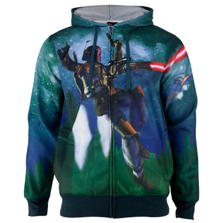 Star Wars - Bobas Flying Sublimated Costume Adult Zip - Star Wars Costume Hoodie