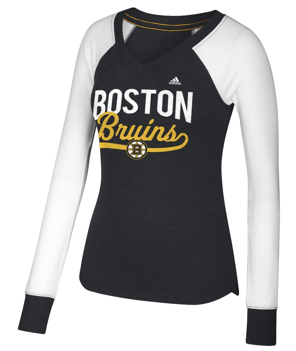 "Boston Bruins Women's Adidas NHL ""Puck Drop"" Dual Blend Long Sleeve T-shirt by REEBOK/SPORTS LICENSED DIVISION"