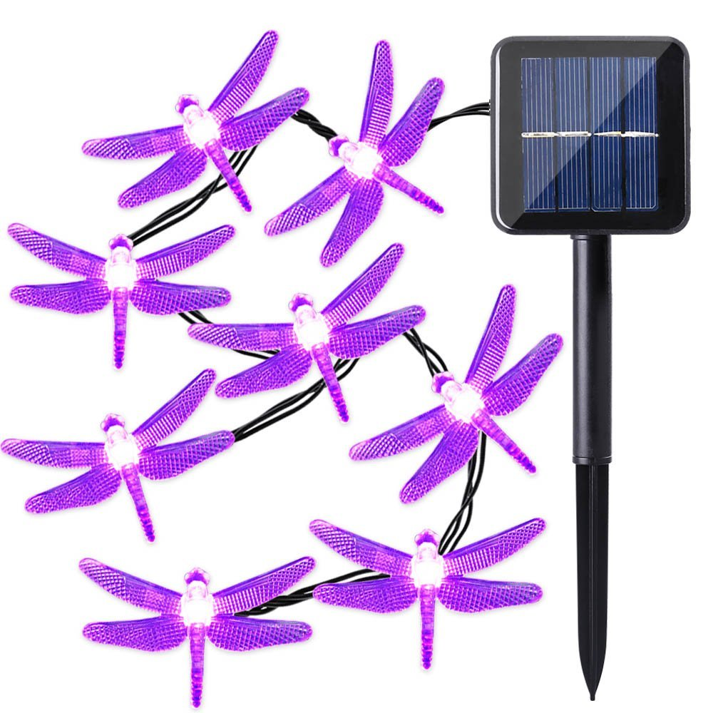 Solar LED Lights,30 LED 19.6ft Dragonfly Fairy String Lights for Garden,Patio,Lawn,Porch,Gate,Yard,Wedding Outdoor Decoration Lights (Purple)