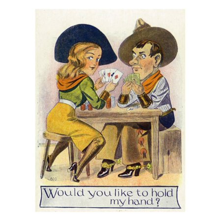 Comic Cartoon - Cowgirl and Cowboy Playing Poker, Cowgirl Wants You to Hold Her Hand Print Wall Art By Lantern Press](Cowboy And Cowgirl)