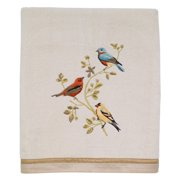 Gilded Birds Embroidered Bath Towel - Ivory
