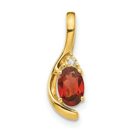 14K Yellow Gold Diamond & Garnet Pendant - image 2 of 2