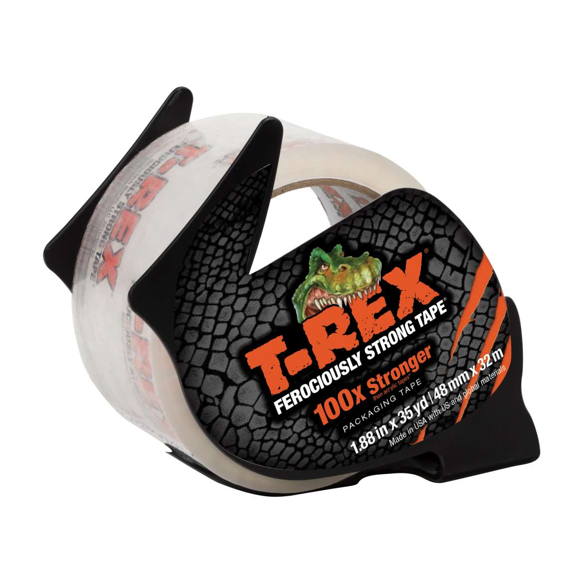 T-REX Packaging Tape With Dispenser, 1.88 in. x 35 yd., Clear, 1-Count