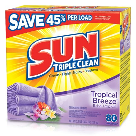 Sun  Tropical Breeze  80 Loads Laundry Detergent 83 2 Oz  Box