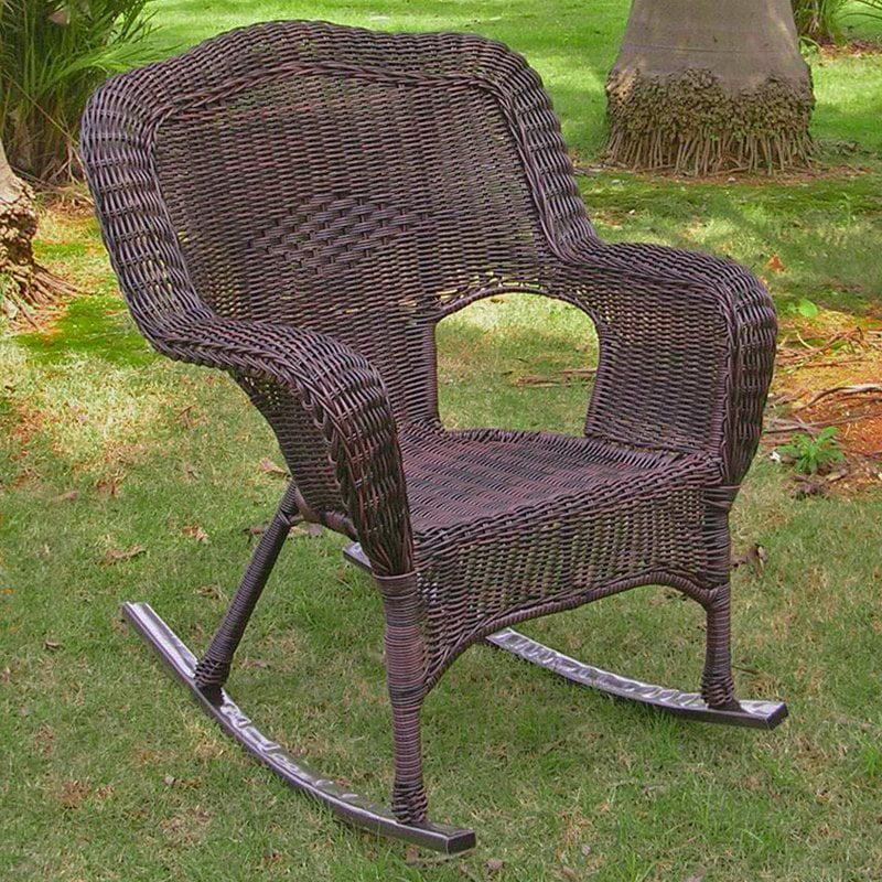 International Caravan Chelsea Wicker Resin Patio Rocking Chair by Intl. Caravan/Golden Needle