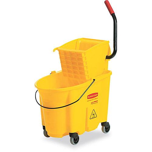 Rubbermaid Commercial Yellow Wavebrake Side Press Mop Bucket & Wringer Combo, 26 qt