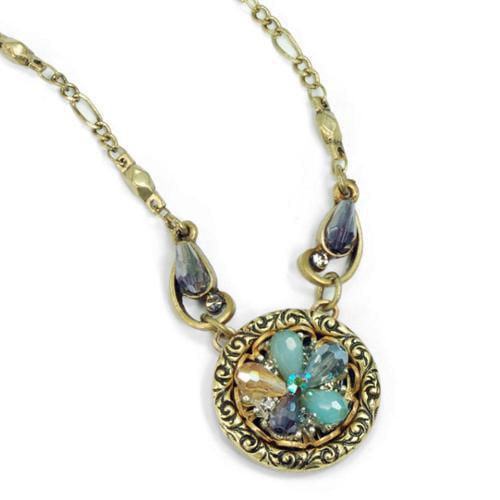 Sweet Romance  Bead Flower Boho Beach Crystal Necklace