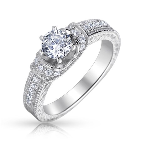 1CT Vintage Style Cubic Zirconia Solitaire Round Prong Set Pave Band Promise Engagement Ring For Women Sterling - Moissanite Round Prong Pave