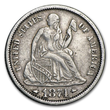 1874 Liberty Seated Dime w/Arrows VF