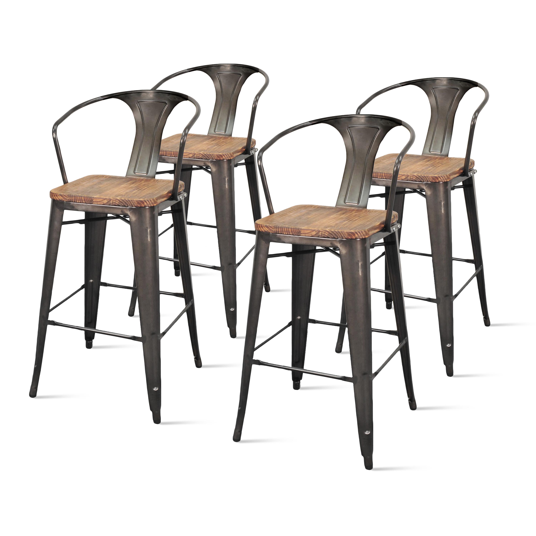 Metropolis Metal Arm Bar Stool With Wood Seat Set Of 4