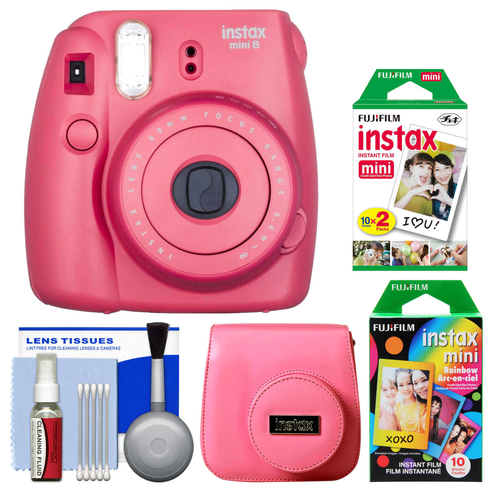 Fujifilm Instax Mini 8 Instant Film Camera (Raspberry) with 20 Twin & 10 Rainbow Prints + Case + Kit