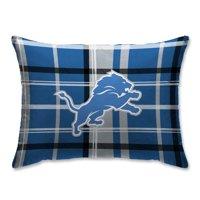 Detroit Lions Plaid Plush Sherpa Bed Pillow - Blue - No Size