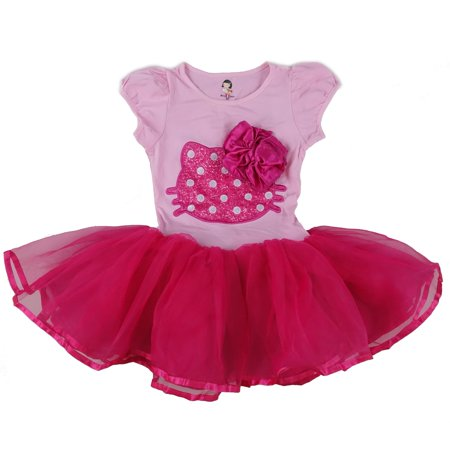 Wenchoice Pink & Hot Pink Kitty Bow Dress Girls L(5-6Y)