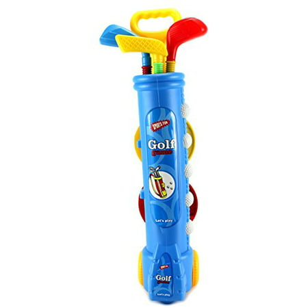 Fun Sport Children's Kid's Toy Golf Set w/ 4 Balls, 3 Clubs, 2 Practice Holes, 2 Flags (Colors May Vary) by Velocity