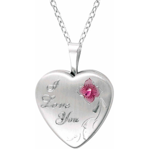 """Sterling Silver Heart-Shaped """"I Love You"""" with Rose Locket by Generic"""